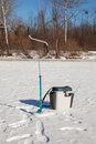Ice fishing accessories for freshwater Royalty Free Stock Photos