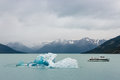 Ice floe with ferry on lake argentino in patagonia southern Royalty Free Stock Photography