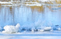 Ice floes on the bank of river in spring Royalty Free Stock Photography