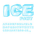Ice font. Cold letters. Transparent blue alphabet. Frosty alphab Royalty Free Stock Photo
