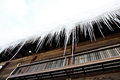 Ice frozen on the house roof Royalty Free Stock Photo