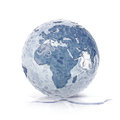 ice globe 3D illustration europe and africa map