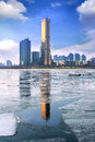 Ice of Han river and cityscape in winter,Seoul in Korea. Royalty Free Stock Photo