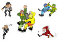 Ice hockey cartoons fun comics characters Stock Photos