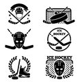 Ice hockey emblem and logo set Royalty Free Stock Photo