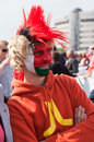 The ice hockey fan from belarus minsk may world championship minsk arena with national flag on faсe in bright Royalty Free Stock Images