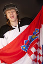 Ice hockey fan with croatian flag Stock Photos