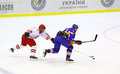Ice-hockey game Ukraine vs Poland Stock Image