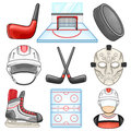 Ice hockey icon sport illustration of a set Stock Images