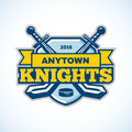 Ice hockey knights team logo template. Shield, swords, ribbon & Royalty Free Stock Photo