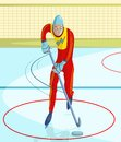 Ice hockey player cartoon style in vector Stock Photos