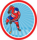 Ice hockey player front with stick cartoon illustration of an set inside oval shape done in style Stock Photo
