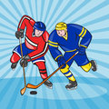 Ice hockey player front with stick retro illustration of an holding arms crossed facing done in style Royalty Free Stock Image