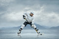 Ice hockey player on the outdoor Stock Photo