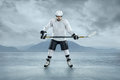 Ice hockey player on the outdoor Stock Photography