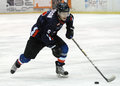 Ice hockey player pictured in action during the romanian first league game between steaua bucharest and hc csickszereda Stock Photo