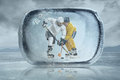 Ice hockey players in the outdoor Royalty Free Stock Photography