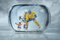 Ice hockey players in the outdoor Royalty Free Stock Images