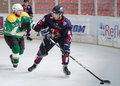 Ice hockey players pictured in action during the friendly game between steaua bucharest and south africa which took place on mihai Royalty Free Stock Photos