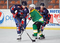 Ice hockey players pictured in action during the friendly game between steaua bucharest and south africa which took place on mihai Stock Photography