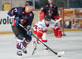 Ice hockey players pictured in action during the romanian first league game between steaua bucharest and dunarea galati Stock Photography