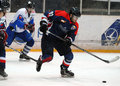 Ice hockey players pictured in action during the romanian first league game between steaua bucharest and hc Stock Images