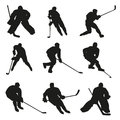 Ice hockey players silhouettes Royalty Free Stock Photo