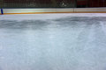 Ice on hockey rink scratched corner view Royalty Free Stock Photos