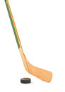 Ice hockey stick and puck Royalty Free Stock Photo