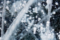 Ice on a large lake covered with bubbles, cracks Stock Photo