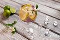 Ice and lemon inside beverage. Royalty Free Stock Photo
