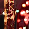 Ice and lights close up Royalty Free Stock Photo