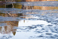 Ice melting and reflections over a lake at spring time in quebec country canada Stock Photography