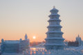 Ice pagoda at sunset Royalty Free Stock Photo
