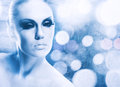 Ice queen abstract female portrait with iced texture Royalty Free Stock Images