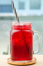 Ice red drink in the glass Royalty Free Stock Images