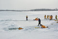 Ice rescue training instructors leading Royalty Free Stock Photo
