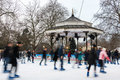 Ice rink at winter wonderland in london uk december people skate the hyde park Royalty Free Stock Images