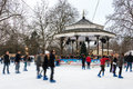 Ice rink at winter wonderland in london uk december people skate the hyde park Stock Image