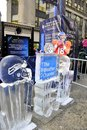 Ice sculptures representing football helmets on display during the super bowl boulevard event in new york on january Stock Photos