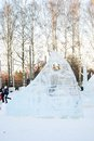 Ice sculptures in sokolniki park sculpture festival winter scene moscow russia taken on Royalty Free Stock Photography