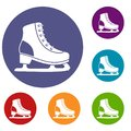 Ice skate icons set