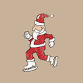 Ice skate Santa stamp Royalty Free Stock Photo