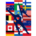 Ice skaters countries winter olympic sports illustration on white background Stock Images