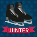Ice skates abstract on special winter background Royalty Free Stock Photo