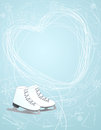 Ice skates with a heart symbol illustration of pair of white winter sketched on the pale blue background above them depicting Royalty Free Stock Photos