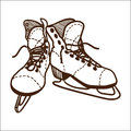 Ice skates isolated on white sketch vector illustration Royalty Free Stock Photography