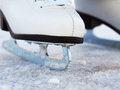 Ice skates on a lake in winter Stock Photography