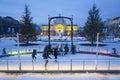 Ice skating in city rink