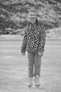Ice skating girl a black and white image of a young wearing a leopard print winter jacket Stock Photography
